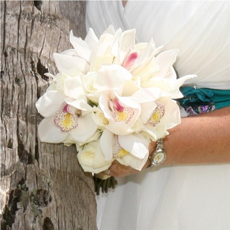 White Rose Cymbidium Bouquet